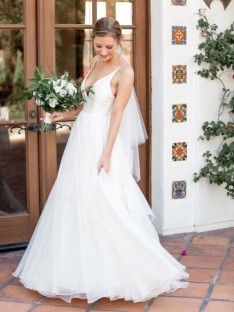A-Line V-neck Sweep/Brush Train Tulle Wedding Dress