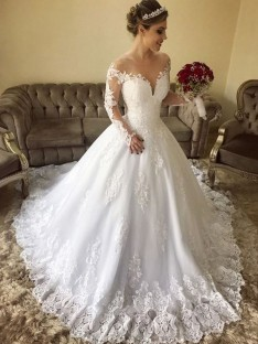 Ball Gown Off-the-Shoulder Long Sleeves Sweep/Brush Train Lace Tulle Wedding Dress