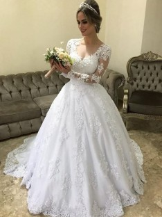 Ball Gown V-neck Long Sleeves Sweep/Brush Train Satin Wedding Dress