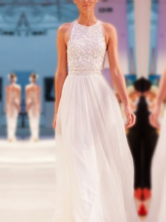 A-Line Jewel Floor-Length Chiffon Wedding Dress