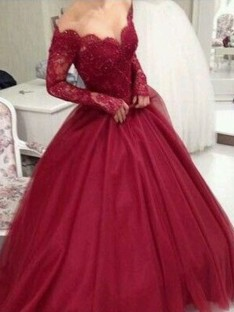 Ball Gown V-neck Long Sleeves Floor-Length Lace Tulle Dress