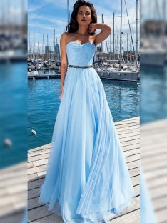 A-Line Chiffon Sweetheart Floor-Length Dress