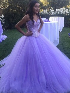 Ball Gown Tulle Sweetheart Sweep/Brush Train Dress
