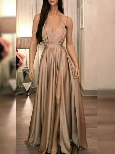 A-Line Silk like Satin Spaghetti Straps Floor-Length Dress
