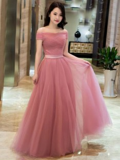 A-Line Tulle Off-the-Shoulder Floor-Length Dress