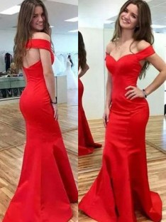 Mermaid Off-the-Shoulder Floor-Length Satin Dress
