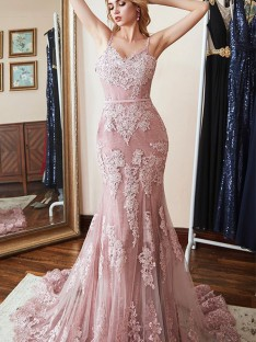 Mermaid Spaghetti Straps Long Lace Dress