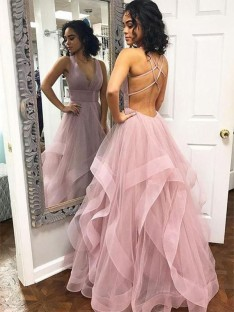 A-Line V-neck Long Organza Dress
