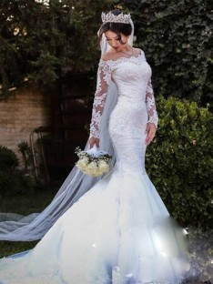 Mermaid Tulle Lace Off-the-Shoulder Long Sleeves Long Wedding Dress