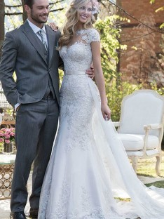 Mermaid Tulle Bateau Long Wedding Dress