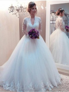 Ball Gown Tulle High Neck Long Sleeves Long Wedding Dress