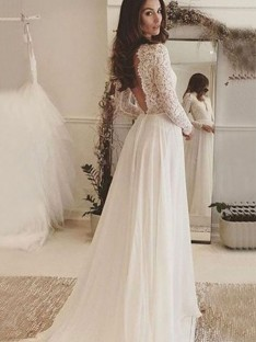 A-Line Chiffon Lace Scoop Long Sleeves Long Wedding Dress