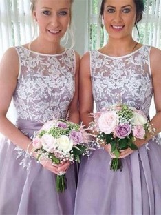 A-Line Sheer Neck Knee-Length Organza Bridesmaid Dress
