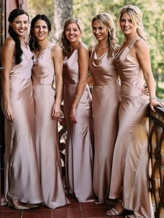 Sheath V-neck Long Silk like Satin Bridesmaid Dress