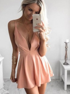 A-Line Silk like Satin Spaghetti Straps Short Dress
