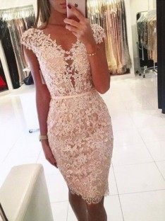 Sheath Lace V-neck Knee-Length Dress