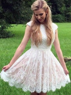A-Line Lace Pearls Sheer Neck Short Dress