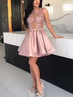 A-Line Satin Sheer Neck Short Dress