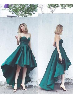 A-Line Satin Sweetheart Asymmetrical Dress