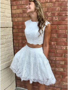 A-Line Lace Lace Scoop Short Dress
