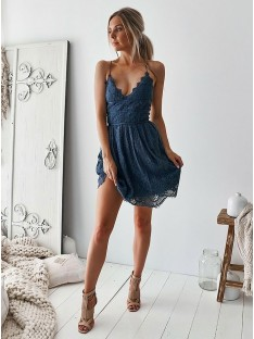 A-Line Lace V-neck Short Dress