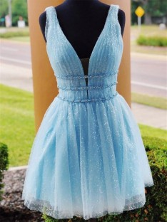 A-Line Tulle V-neck Short Dress