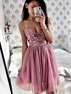A-Line Tulle Spaghetti Straps Short Dress