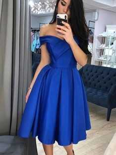 A-Line Satin Off-the-Shoulder Knee-Length Dress