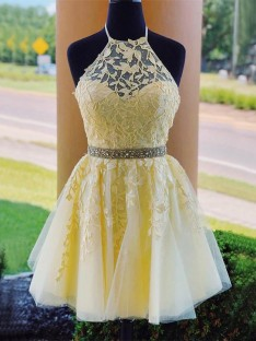 A-Line Tulle Halter Short Dress