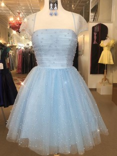 A-Line Tulle Strapless Short Dress
