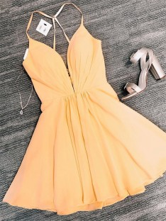 A-Line Chiffon V-neck Short Dress