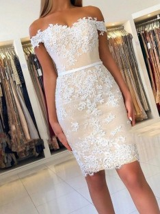 Sheath Lace Off-the-Shoulder Short Dress