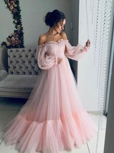 A-Line Tulle Off-the-Shoulder Long Sleeves Floor-Length Dress
