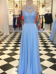 A-Line Chiffon Halter Floor-Length Dress
