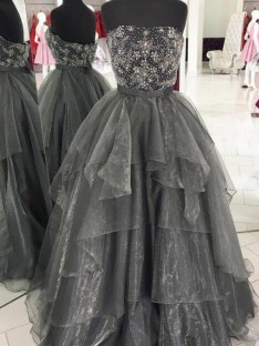 Ball Gown Strapless Floor-Length Organza Dress
