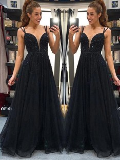 A-Line Tulle Spaghetti Straps Floor-Length Dress