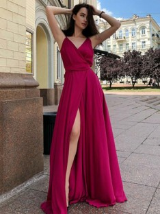 A-Line Satin Chiffon Spaghetti Straps Sweep/Brush Train Dress