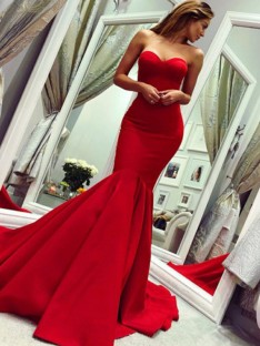 Mermaid Strapless Court Train Satin Dress