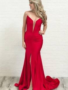 A-Line Spaghetti Straps Satin Court Train Dress