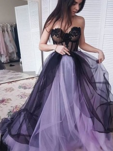 A-Line Tulle Strapless Court Train Dress