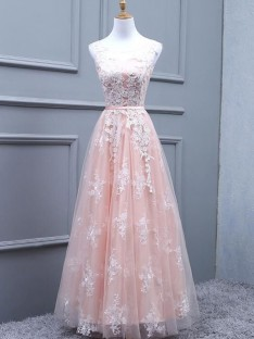 A-Line Tulle Scoop Floor-Length Dress