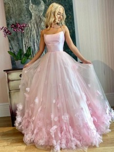 A-Line Bateau Tulle Floor-Length Dress