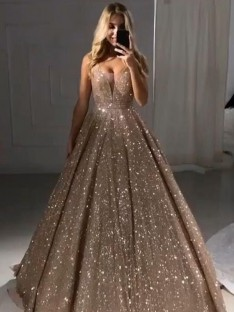 A-Line V-neck Sequins Floor-Length Dress