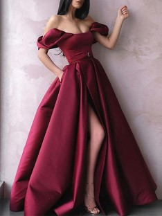 A-Line Off-the-Shoulder Satin Floor-Length Dress