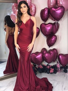 Mermaid Satin V-neck Sweep/Brush Train Dress