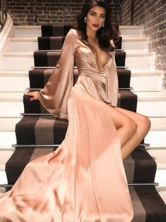 A-Line V-neck Satin Long Sleeves Sweep/Brush Train Dress