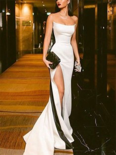 Sheath/Column Strapless Satin Sweep/Brush Train Dress