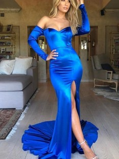 Mermaid Satin V-neck Long Sleeves Court Train Dress