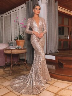 Mermaid Long Sleeves V-neck Sweep/Brush Train Sequins Dress