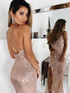 Mermaid Spaghetti Straps Ankle-Length Sequins Dress